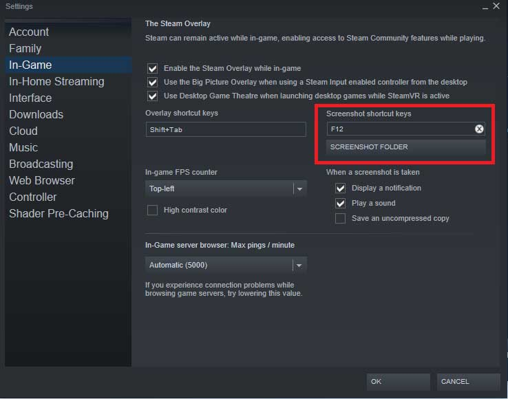 Steam screenshot shortcut key